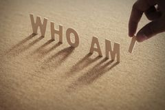 WHO AM I wood word on compressed board. WHO AM I wood word on compressed or corkboard with human`s finger at I letter royalty free stock images