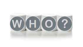 Who. Letter dice on a white background - Who stock photo