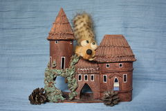 "Who lives in a mansion? â""–3. Handmade Castle. Handmade clay toys royalty free stock photo"