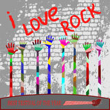 Who loves rock put your hands up Royalty Free Stock Photography