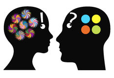 Who is more creative?. Man and woman differ in imagination, fantasy and color perception Royalty Free Stock Photo