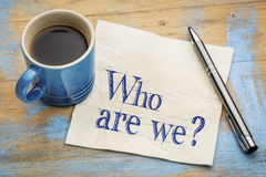 Who are we question on napkin Stock Image