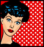 Who is it? retro woman face vintage clipart with dot background Royalty Free Stock Photography
