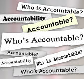 Who's Accountable Headlines News Investigation Responsibility Royalty Free Stock Image