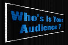 Who`s is Your Audience blue text on dark screen. Tv effect vector illustration