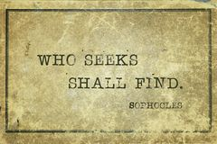 Who seeks Sophocles royalty free stock photography
