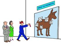 Who To Promote. Business cartoon showing a game of 'pin the tail on the donkey' and the title of the game is 'who to promote Stock Images