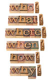 Who, what, where, when, why, how questions. In vintage wood letterpress printing blocks, stained by color inks Stock Photo