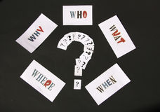 Questions words. Who, what, where, when and why questions . Different style question mark stock photos