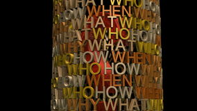 Who what when where why. Video clip of who, what, when, where and why exploding to reveal question mark, also with alpha channel