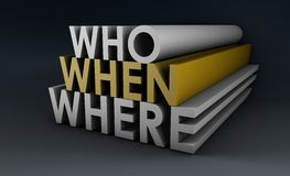 Who When Where. And What is Going On stock illustration