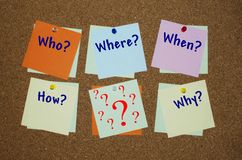 Who, where, when, how, why question on paper notes Stock Photography