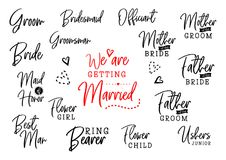 Who is who on wedding set royalty free illustration