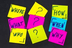 Who, why, how, what, when and where questions - uncertainty, br. Ainstorming or decision making concept, a set  colorful sticky notes on the blackBoard Royalty Free Stock Photography