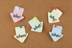 Five Ws written on notes. Who, why, what, when and where written on color reminder notes with pin on cork board. Five Ws. Business concept stock photos