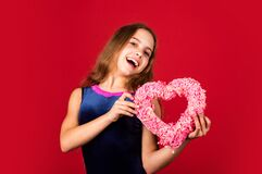 Who will steal my heart. Happy child hold heart red background. Celebration of love. Holiday greetings. Holiday