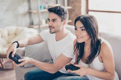 Free Who Will Win Excited Beautiful Friends Are Playing Games  Indoo Stock Images - 119248434