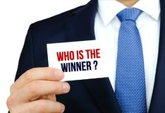 Who is the winner. Business card concept Stock Photography