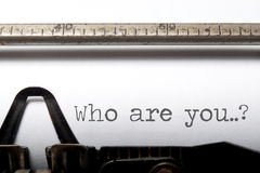 Who are you?. Who are you printed on an old typewriter Royalty Free Stock Photo