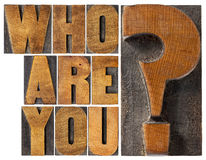 Who are you question in wood type. Who are you question - isolated word abstract in letterpress wood type blocks stock photo