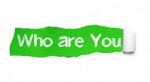 Who are you question written under the curled piece of Green torn paper royalty free illustration
