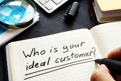Who is your ideal customer handwritten in a note. Loyalty and satisfaction. Who is your ideal customer handwritten in the note. Loyalty and satisfaction royalty free stock photos