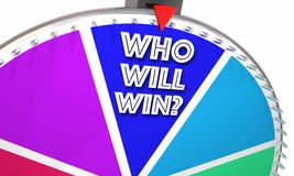 Who zal Spel toont Spinnewielwoorden winnen Stock Fotografie