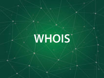 WHOIS uma utilidade do Internet usada para procurar o grande base de dados do sistema de nome de domínio do DNS dos Domain Name,  ilustração royalty free