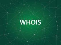 WHOIS une utilité d'Internet employée pour rechercher la grande base de données de Domain Name System de DNS des Domain Name, IP  Photographie stock