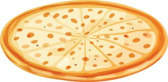 Whole Alfredo Cheese Pizza Sliced. Whole sliced plain cheese pizza. Isolated vector illustration on white background Royalty Free Stock Photography