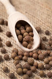 Whole allspice pepper super food in a wooden spoon Royalty Free Stock Photos