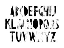 The whole alphabet, letters cut out of paper with a hand-made texture. Black and white graphics, you can use anywhere, as in the d stock illustration