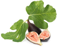 Whole And Half Of Fig Fruits Stock Photos
