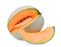 Free Whole And Slice Of Japanese Melons, Orange Melon Or Cantaloupe Melon With Slice Isolated On White Royalty Free Stock Image - 144633856