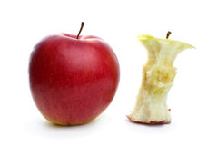 Whole apple and core Stock Image