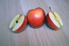 Whole Apple and cut Apple royalty free stock image