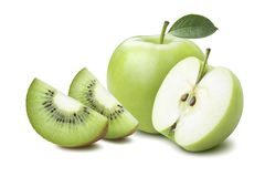 Whole apple half kiwi quarters isolated on white Royalty Free Stock Photography