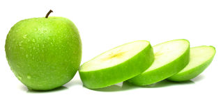 Whole apple and slices Stock Image
