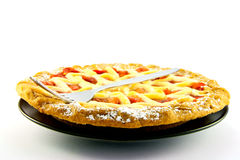 Whole Apple and Strawberry Pie with a Fork Stock Images