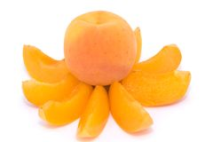 Whole apricot on apricot slices Stock Images