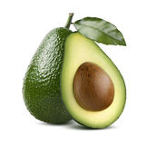 Whole avocado with leaf and cut half isolated on white backgroun Stock Image