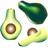 Whole avocado, slice and wedge in vector. Detailed vector illustration of a whole avocado, slice and wedge with color and texture Royalty Free Stock Images