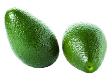 Whole Avocado  on white background. Fresh green Avocado Stock Images