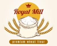 Whole bag of wheat flour sketch. Whole bag of wheat flour vector sketch. Premium mill product emblem Stock Image