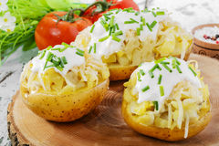 Whole baked potato. With cheese and sauce Royalty Free Stock Photography
