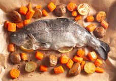 Whole Baked Rainbow Trout with Roasted Root Vegetables. A Whole Baked Rainbow Trout with Roasted Root Vegetables stock photography