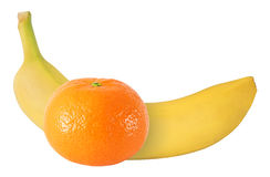 Whole banana and tangerine fruits isolated on white with clipping path Stock Image