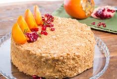 Whole beautiful cake with decor. Whole beautiful cake with fruits decor stock photos