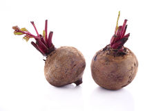 Whole Beetroots with leaf on white Royalty Free Stock Photography