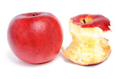 Whole  and bitten red  apples Royalty Free Stock Photography
